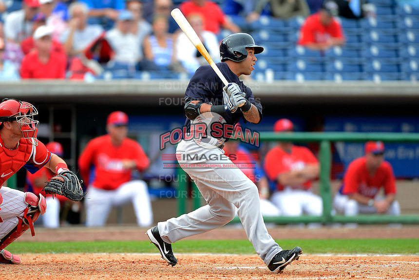 New York Yankees shortstop Cito Culver #90 at bat during a Spring Training game against the Philadelphia Phillies at Bright House Field on February 26, 2013 in Clearwater, Florida.  Philadelphia defeated New York 4-3.  (Mike Janes/Four Seam Images)