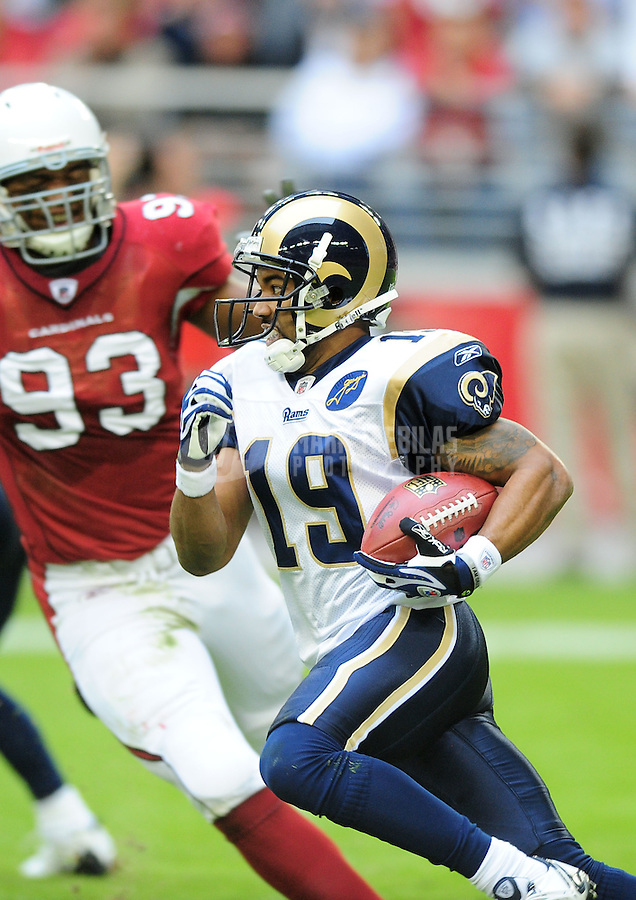Dec. 7, 2008; Glendale, AZ, USA; St. Louis Rams wide receiver (19) Derek Stanley against the Arizona Cardinals at University of Phoenix Stadium. The Cardinals defeated the Rams 34-10 to clinch the NFC West division title. Mandatory Credit: Mark J. Rebilas-