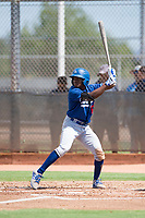 Los Angeles Dodgers outfielder Aldrich De Jongh (63) at bat during an Instructional League game against the Milwaukee Brewers at Maryvale Baseball Park on September 24, 2018 in Phoenix, Arizona. (Zachary Lucy/Four Seam Images)
