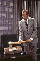 Bob Newhart rehearsing scene from Bob Newhart Show, CBS Studios, Los Angeles, 1974.