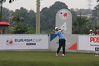 Paul Casey (Europe) on the 4th tee during the Saturday Foursomes of the Eurasia Cup at Glenmarie Golf and Country Club on the 13th January 2018.<br /> Picture:  Thos Caffrey / www.golffile.ie