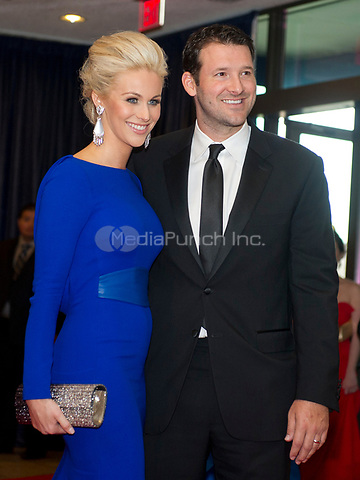 Tony Romo and Candice Crawford arrive for the 2014 White House Correspondents Association Annual Dinner at the Washington Hilton Hotel on Saturday, May 3, 2014.<br /> Credit: Ron Sachs / CNP<br /> (RESTRICTION: NO New York or New Jersey Newspapers or newspapers within a 75 mile radius of New York City) /MediaPunch