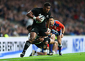 4th November 2017, Twickenham Stadium, Twickenham, England; Autumn International Rugby, Barbarians versus New Zealand; Waisake Naholo of New Zealand attempting to score a try past Seta Tamanivalu of New Zealand