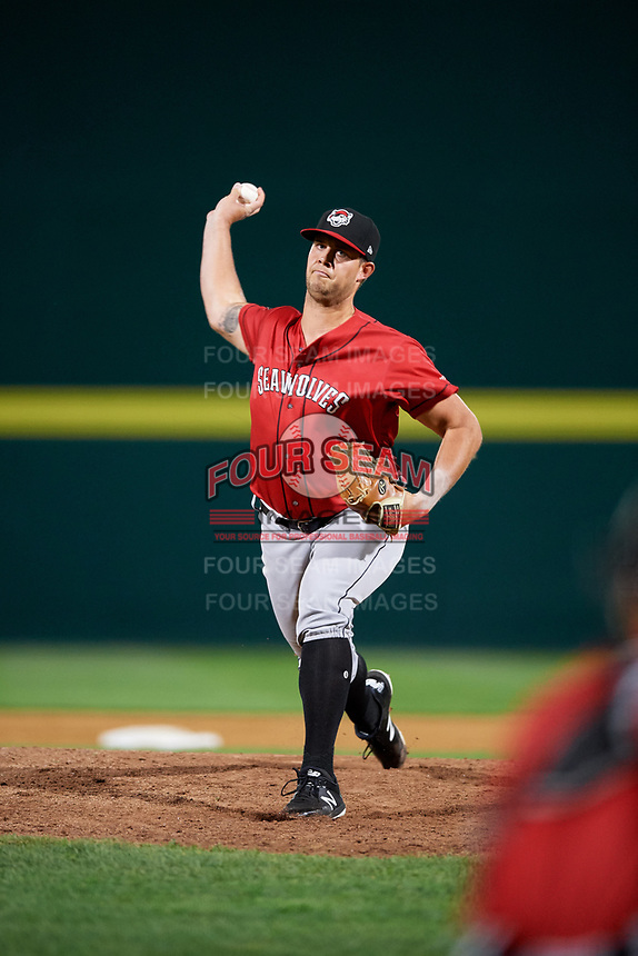 Erie SeaWolves relief pitcher Zach Houston (38) delivers a pitch during a game against the Binghamton Rumble Ponies on May 14, 2018 at NYSEG Stadium in Binghamton, New York.  Binghamton defeated Erie 6-5.  (Mike Janes/Four Seam Images)