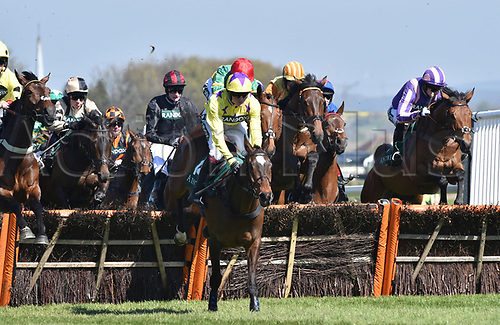 April 8th 2017, Aintree Racecourse, Liverpool, England; Randox Health Grand National Festival Horse racing, Grand National Day; Winner of the Gaskells Handicap Hurdle Fountains Winfall ridden by David Noonan leads from the start