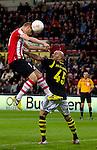 Nederland, Eindhoven, 25 oktober  2012.Europa League.Seizoen 2012-2013.PSV-AIK .Timothy Derijck van PSV in duel om de bal met Daniel Majstorovic van AIK