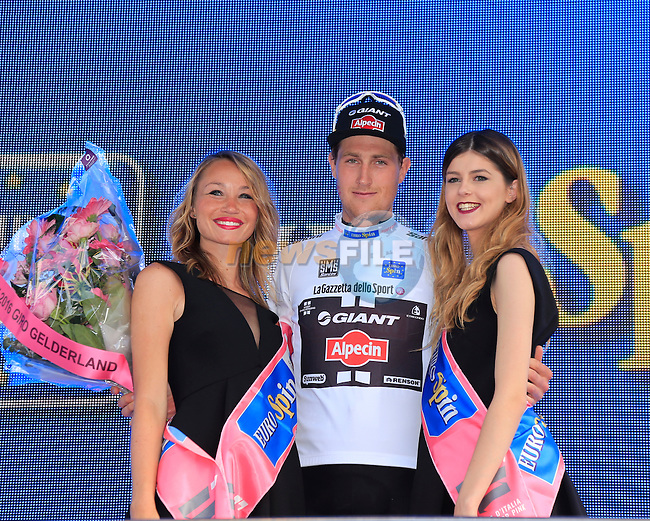 Tobias Ludvigsson (SWE) Team Giant-Alpecin earns the young rider's Maglia Bianca at the end of Stage 2 of the 2016 Giro d'Italia running 190km from Arnhem to Nijmegen, The Nethrerlands. 7th May 2016.<br /> Picture: Eoin Clarke | Newsfile<br /> <br /> <br /> All photos usage must carry mandatory copyright credit (&copy; Newsfile | Eoin Clarke)