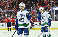 WASHINGTON, DC - FEBRUARY 05: Vancouver Canucks center Elias Pettersson (40) and right wing Brock Boeser (6) wait for a face-off during the Vancouver Canucks vs. the Washington Capitals NHL game at Capital One Arena in Washington, D.C.. (Photo by Randy Litzinger/Icon Sportswire)