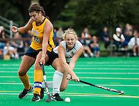 STANFORD, CA - SEPTEMBER 19: Kelsey Lloyd battles against Cal on the Stanford Varsity Field Hockey turf, September 19, 2010 in Stanford, California.