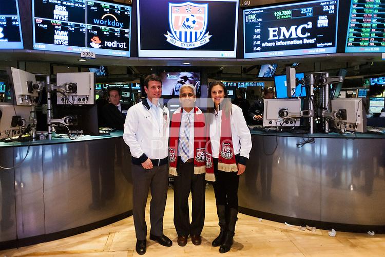 former U.S. Men's National Team star Jeff Agoos, U.S. Soccer president Sunil Gulati, and U.S. women national team midfielder Carli Lloyd during the centennial celebration of U. S. Soccer at the New York Stock Exchange in New York, NY, on April 02, 2013.