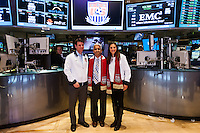 former U.S. Men's National Team star Jeff Agoos, U.S. Soccer president Sunil Gulati, and U.S. women national team midfielder Carli Lloyd during the centennial celebration of U. S. Soccer at the New York Stock Exchange in New York, NY, on April 02, 2013.