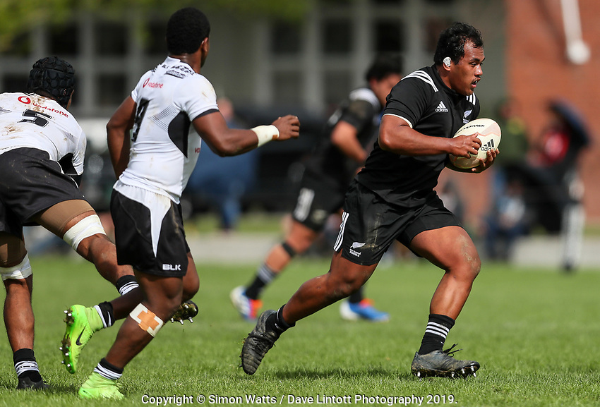Tiaan Tauakipulu in action during the rugby union match between New Zealand Schools and Fiji Schools at Hamilton Boys' High School in Hamilton, New Zealand on Monday, 30 September 2019. Photo: Simon Watts / lintottphoto.co.nz