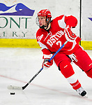 9 January 2011: Boston University Terrier defenseman Ryan Ruikka, a Sophomore from Chelsea, MI, in action against the University of Vermont Catamounts at Gutterson Fieldhouse in Burlington, Vermont. The Terriers defeated the Catamounts 4-2 in Hockey East play. Mandatory Credit: Ed Wolfstein Photo