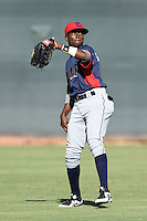 Cleveland Indians outfielder Gabriel Mejia (7) during an Instructional League game against the Seattle Mariners on October 1, 2014 at Goodyear Training Complex in Goodyear, Arizona.  (Mike Janes/Four Seam Images)