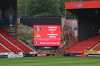 General view of The Valley showing the scoreboard promoting tonights game during Charlton Athletic vs Doncaster Rovers, Sky Bet EFL League 1 Play-Off Football at The Valley on 17th May 2019