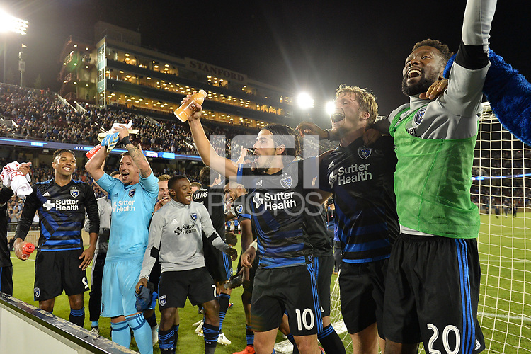 Stanford, CA - Saturday July 01, 2017: Jahmir Hyka, Florian Jungwirth, Shaun Francis during a Major League Soccer (MLS) match between the San Jose Earthquakes and the Los Angeles Galaxy at Stanford Stadium.