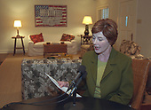 First Lady Laura Bush reads her radio address from the Bush Ranch in Crawford, Texas on November 16, 2001<br /> Mandatory Credit: Susan Sterner / White House via CNP
