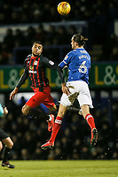 Blackburn Rovers' Dominic Samuel competing with Portsmouth's Christian Burgess <br /> <br /> Photographer Andrew Kearns/CameraSport<br /> <br /> The EFL Sky Bet League One - Portsmouth v Blackburn Rovers - Tuesday 13th February 2018 - Fratton Park - Portsmouth<br /> <br /> World Copyright &copy; 2018 CameraSport. All rights reserved. 43 Linden Ave. Countesthorpe. Leicester. England. LE8 5PG - Tel: +44 (0) 116 277 4147 - admin@camerasport.com - www.camerasport.com