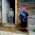 The oldest survivor in Szaflary, Aniela Gil who is 84 years old outsides her home, her family tells me that she has many memories, but I came too late Aniela doesn't talk any longer. In the background is one of her grandchildren.