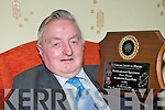 Former Chairman of the IFA Francie Brosnan, Tullig, Castleisland who will be honored with a life membership of the IFA in Tralee next Monday night, Francie is holding a plaque to commemorate his walk from Kerry to Dublin on the Farmer's Right's March in 1966 which was presented to him in 1987..