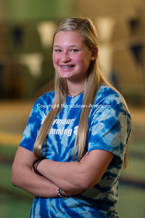 WATERBURY, CT- 24 November 2015-112415EC05-   Seymour's Sierra Cripps receives the James Farrar Award for the most valuable swimmer. Erin Covey Republican-American