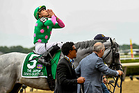 ELMONT, NY - JUNE 09: Irad Ortiz Jr. celebrates after winning the Jaipur Invitational Stakes on Belmont Stakes Day at Belmont Park on June 9, 2018 in Elmont, New York. (Photo by Carson Dennis/Eclipse Sportswire/Getty Images)