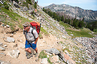 Joe Josephson of Livingston, Montana, hikes in the Taylor-Hilgard Unit of the Lee Metcalf Wilderness in the southern Madison Mountain Range.
