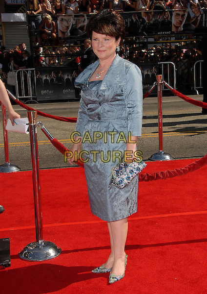 "IMELDA STAUNTON.attends The Warner Brothers' USA Premiere of ""Harry Potter and The Order of The Phoenix"" held at The Grauman's Chinese Theatre in Hollywood,  California, USA, July 08 2007.                                                                       full length blue grey embroidered patterned silk satin suit coat jacket dress bag shoes.CAP/DVS.©Debbie VanStory/Capital Pictures"