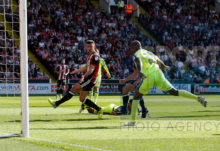 Enda Stevens of Sheffield Utd  reacts after missing a chance to score during the Championship match at Bramall Lane, Sheffield. Picture date 26th August 2017. Picture credit should read: Simon Bellis/Sportimage