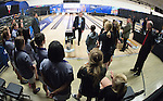 16 APR 2016:  Rick Barbera, head official, speaks to the teams ahead of the Division I Women's Bowling Championship held at the Brunswick Zone Carolier in North Brunswick, NJ.  Stephen F. Austin State won the national title.  Ben Solomon/NCAA Photos