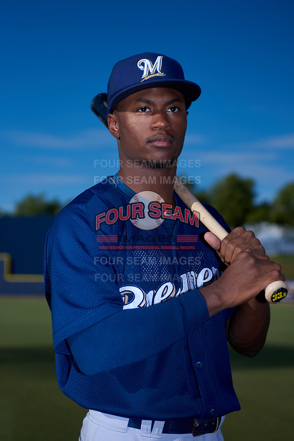AZL Brewers Blue Terence Doston (9) poses for a photo before an Arizona League game against the AZL Brewers Gold on July 13, 2019 at American Family Fields of Phoenix in Phoenix, Arizona. The AZL Brewers Blue defeated the AZL Brewers Gold 6-0. (Zachary Lucy/Four Seam Images)