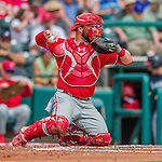 11 March 2016: Philadelphia Phillies catcher Cameron Rupp in action during a Spring Training pre-season game against the Atlanta Braves at Champion Stadium in the ESPN Wide World of Sports Complex in Kissimmee, Florida. The Phillies defeated the Braves 9-2 in Grapefruit League play. Mandatory Credit: Ed Wolfstein Photo *** RAW (NEF) Image File Available ***