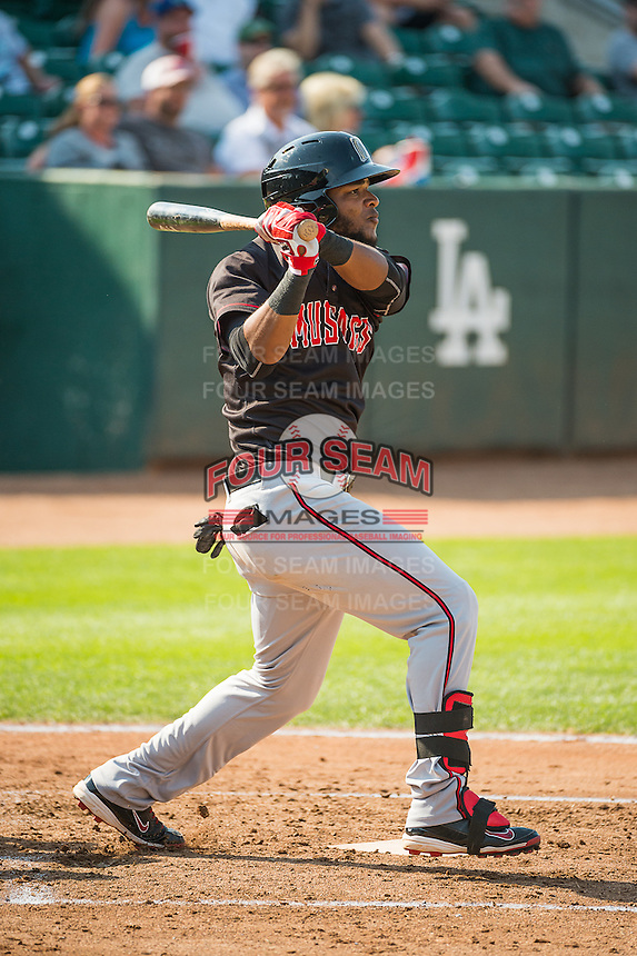 Reydel Medina (24) of the Billings Mustangs at bat against the Ogden Raptors in Pioneer League action at Lindquist Field on August 16, 2015 in Ogden, Utah.Billings defeated Ogden 6-3.  (Stephen Smith/Four Seam Images)
