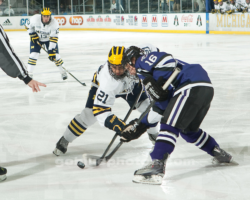 The University of Michigan ice hockey team shut out Niagra in the regular season opener, 5-0, at Yost Ice Arena in Ann Arbor, Mich., on October 4, 2011.