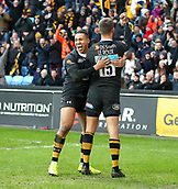 January 7th 2018, Ricoh Arena, Coventry, England;  Aviva Premiership rugby, Wasps versus Saracens; Marcus Watson celebrates with Willie Le Roux who scored a try for Wasps in the 38th minute of the Aviva Premiership (Round 13) match between Wasps and Saracens rfc at the Ricoh Stadium