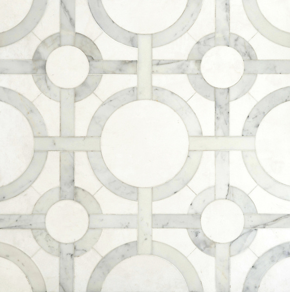 Cirque, a handmade mosaic shown in honed Thassos and polished Calacatta Tia, is by Sara Baldwin for New Ravenna.<br />