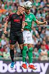 01.09.2019, wohninvest WESERSTADION, Bremen, GER, 1.FBL, Werder Bremen vs FC Augsburg<br /> <br /> DFL REGULATIONS PROHIBIT ANY USE OF PHOTOGRAPHS AS IMAGE SEQUENCES AND/OR QUASI-VIDEO.<br /> <br /> im Bild / picture shows<br /> Philipp Max (FC Augsburg #31) im Duell / im Zweikampf mit Michael Lang (Neuzugang Werder Bremen #04), <br /> <br /> Foto © nordphoto / Ewert