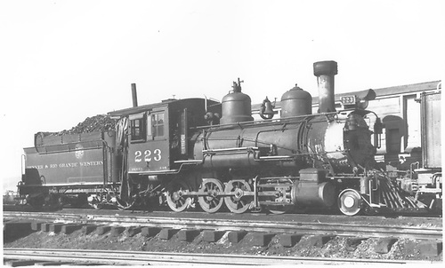3/4 engineers'-side view of D&amp;RGW #223 at Gunnison.<br /> D&amp;RGW  Gunnison, CO
