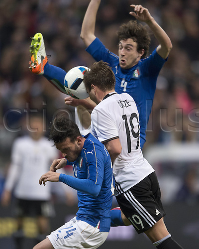 29.03.2016. Munich, Germany. International soccer match between Germany and Italy, at the Allianz Arena in Munich.  Goal scored for 2-0 by Mario Goetze (GER) past Alessandro FLORENZI (ITA) and Matteo DARMIAN (ITA)