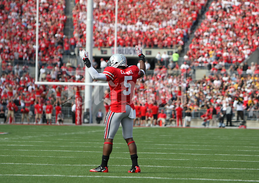 Ohio State Buckeyes defensive back Dominic Clarke (5) against Colorado Buffaloes in their NCAA football game at the Ohio Stadium in Columbus, September 25, 2011.  (Dispatch photo by Neal C. Lauron)