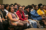 The audience enjoyed conversation with Tarell Alvin McCraney after a showing of the movie Moonlight, Friday, April 21, 2017 in the Lincoln Park Student Center. (Photo by Diane M. Smutny)