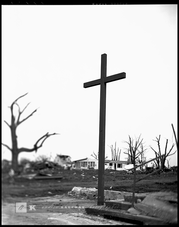 Where St. Joseph's Catholic Church used to be stands a church bell and a cross. It's all that is left after the F5 tornado hit Greensburg, KA