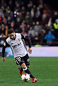9th January 2018, Mestalla Stadium, Valencia, Spain; Copa del Rey football, round of 16, second leg, Valencia versus Las Palmas; Nacho Gil runs with the ball for Valencia during the game
