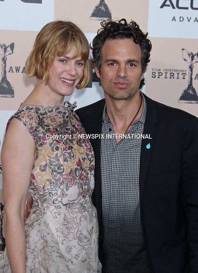 """MARK RUFFALO AND SUNRISE COIGNEY.INDEPENDENT SPIRIT AWARDS.Santa Monica, California_26/2/2011.Mandatory Photo Credit: ©M.Philips_Newspix International..**ALL FEES PAYABLE TO: """"NEWSPIX INTERNATIONAL""""**..PHOTO CREDIT MANDATORY!!: NEWSPIX INTERNATIONAL(Failure to credit will incur a surcharge of 100% of reproduction fees)..IMMEDIATE CONFIRMATION OF USAGE REQUIRED:.Newspix International, 31 Chinnery Hill, Bishop's Stortford, ENGLAND CM23 3PS.Tel:+441279 324672  ; Fax: +441279656877.Mobile:  0777568 1153.e-mail: info@newspixinternational.co.uk"""