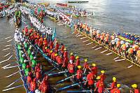 The annual boat races, Asian rowing teams during Phnom Penh Boat races in Cambodia, a yearly event but dates are changed every year