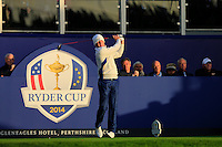 Jamie Donaldson (EUR) during the Saturday morning Fourballs of the 2014 Ryder Cup at Gleneagles. The 40th Ryder Cup is being played over the PGA Centenary Course at The Gleneagles Hotel, Perthshire from 26th to 28th September 2014.: Picture Thos Caffrey, www.golffile.ie: \27/09/2014\