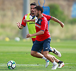 Getafe CF's Jorge Molina (l) and Dani Pacheco during training session. August 1,2017.(ALTERPHOTOS/Acero)