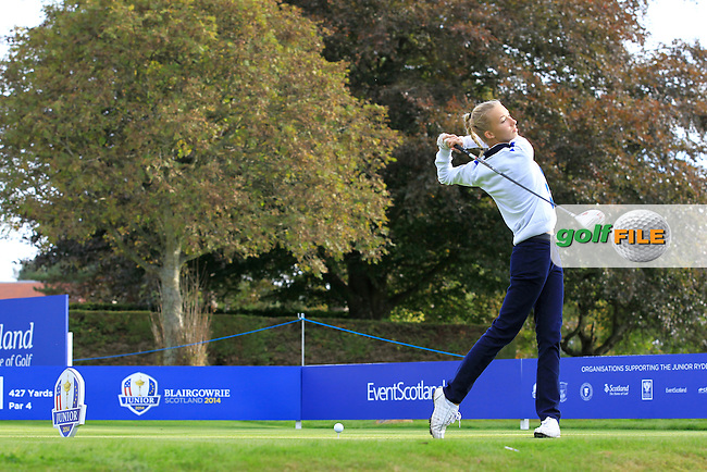 Alexandra Forsterling (GER) on the 1st tee during Day 2 Singles for the Junior Ryder Cup 2014 at Blairgowrie Golf Club on Tuesday 23rd September 2014.<br /> Picture:  Thos Caffrey / www.golffile.ie