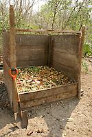 Compost bin and shovel at Hacienda Tres Rios on the Riviera Maya, Quintana Roo, Mexico.