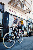 USA, California, Oakland, Sam Cunningham at Manifesto Bicycles, Manifesto Bikes has all the components you'd need to uniquely outfit your bike